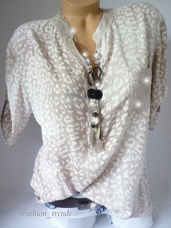 damen italy glitzer pailletten leo bluse shirt tunika fischerhemd braun 38 40 42 ebay. Black Bedroom Furniture Sets. Home Design Ideas
