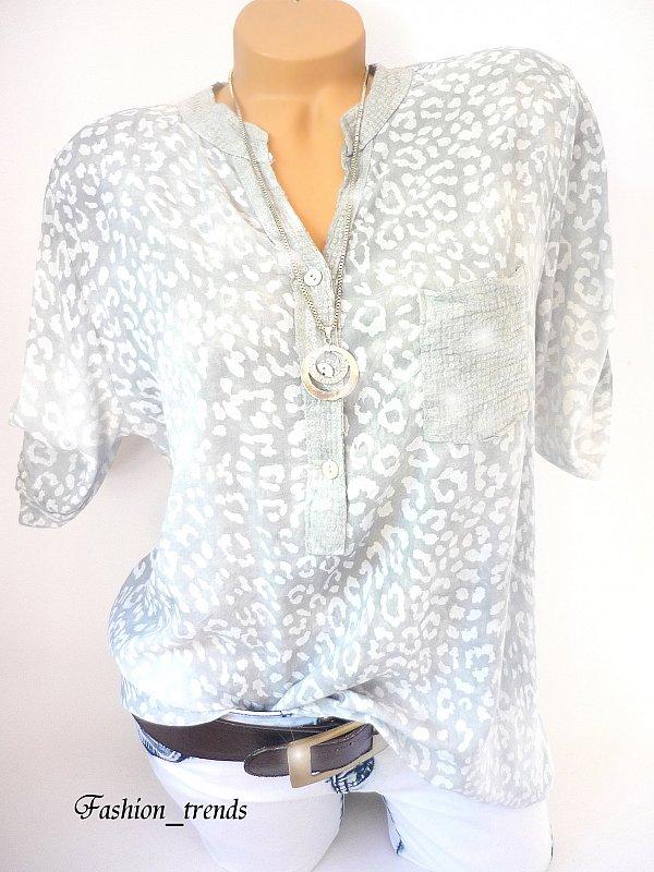 italy glitzer pailletten leo bluse shirt tunika fischerhemd grau m l xl 38 40 42 ebay. Black Bedroom Furniture Sets. Home Design Ideas