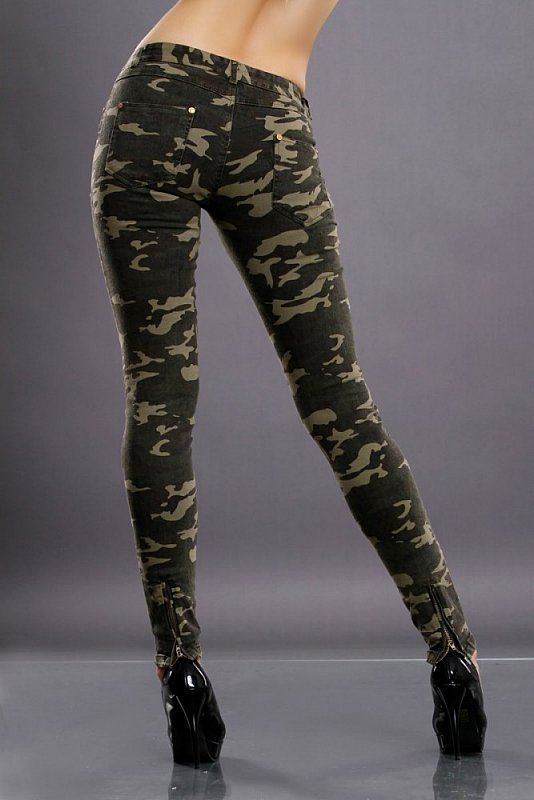sexy stretch damen army hose mit skull nieten 38 camouflage r hren jeans neu ebay. Black Bedroom Furniture Sets. Home Design Ideas