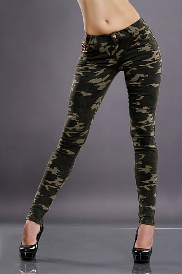 sexy stretch damen army hose mit skull nieten 36 camouflage r hren jeans neu ebay. Black Bedroom Furniture Sets. Home Design Ideas