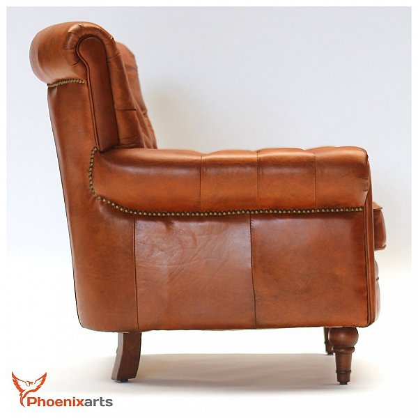 vintage real leather chesterfield armchair wing chair club 549 ebay