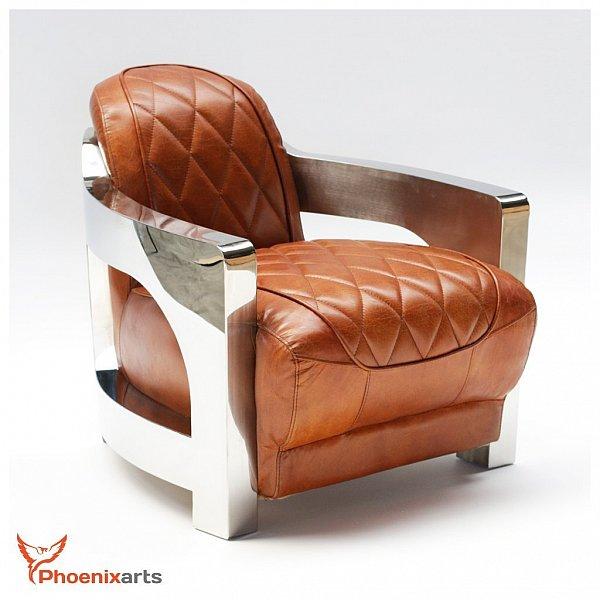 echtleder vintage sessel edelstahl ledersessel design sessel retro club 554 ebay. Black Bedroom Furniture Sets. Home Design Ideas