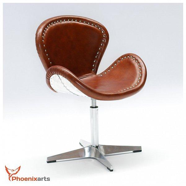 Vintage leather armchair egg chair aluminium swivel real for High chair net catcher