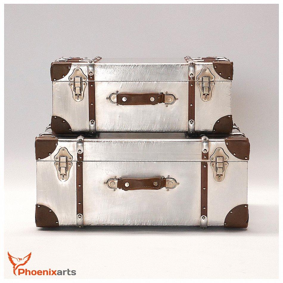 2er set alu deko koffer industrie design truhe vintage. Black Bedroom Furniture Sets. Home Design Ideas