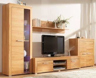 wohnwand aosta kernbuche nachbildung neu ebay. Black Bedroom Furniture Sets. Home Design Ideas