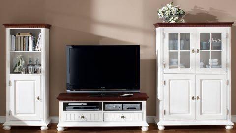 romantic garden wohnwand harmonie aus massivholz 3 tlg wei mocca ebay. Black Bedroom Furniture Sets. Home Design Ideas