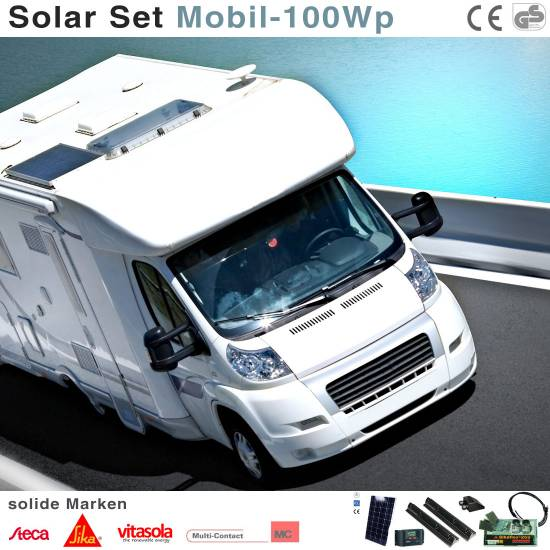wohnmobil solaranlage 12v set 100 watt komplett ebay. Black Bedroom Furniture Sets. Home Design Ideas