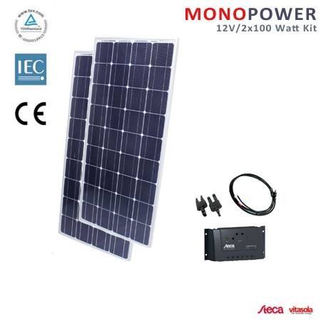 200 watt solaranlage 12v solar set f r garten und freizeit mit reichlich power ebay. Black Bedroom Furniture Sets. Home Design Ideas