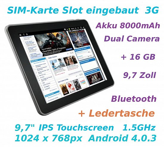9 7 zoll tablet pc superpad sim karte slot 3g android 4 0. Black Bedroom Furniture Sets. Home Design Ideas
