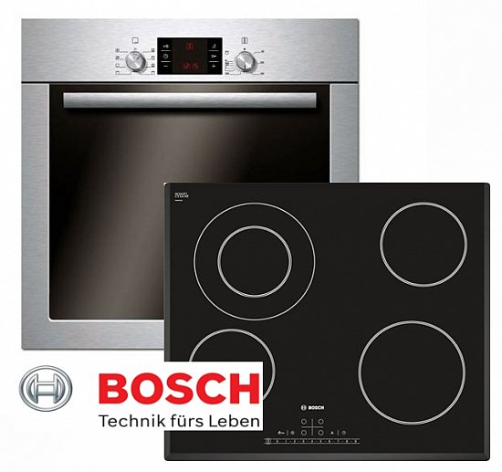 bosch herdset autark backofen umluft facette glaskeramik kochfeld 60cm ebay. Black Bedroom Furniture Sets. Home Design Ideas