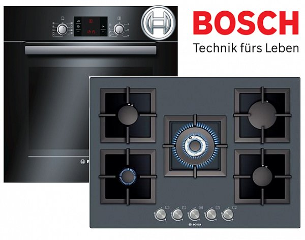 bosch gas herdset autark umluft schwarz backofen gas kochfeld glaskeramik 71cm ebay. Black Bedroom Furniture Sets. Home Design Ideas
