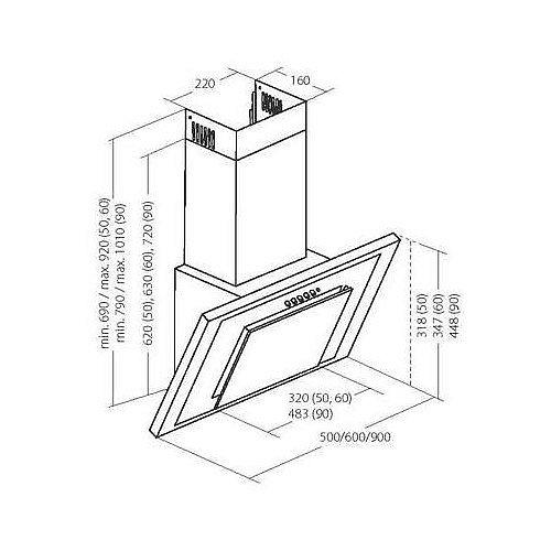 dunstabzugshaube 90cm schwarz kopffreihaube abzugshaube. Black Bedroom Furniture Sets. Home Design Ideas