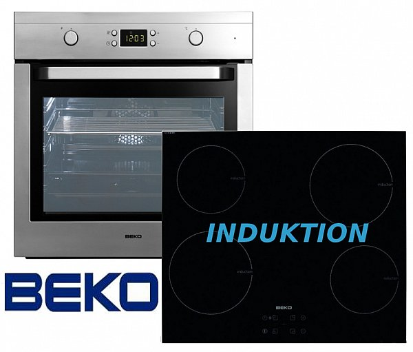 Beko herdset induktion autark backofen glaskeramik for Herd set induktion
