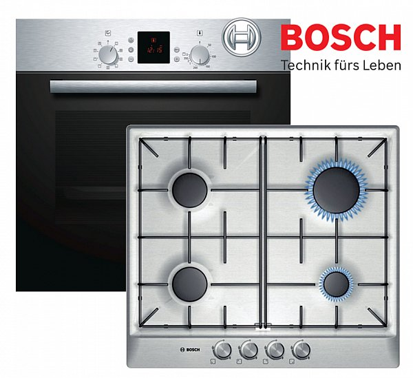 bosch gas herdset autark einbau backofen umluft gas kochfeld edelstahl neu ebay. Black Bedroom Furniture Sets. Home Design Ideas