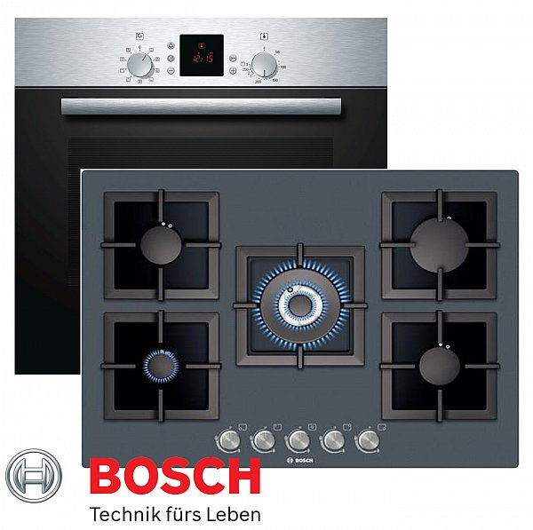 bosch gas herdset autark umluft backofen gas kochfeld glaskeramik 71cm wok ebay. Black Bedroom Furniture Sets. Home Design Ideas