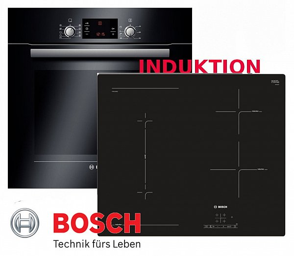 herdset autark ofen bosch backofen schwarz induktion glaskeramik kochfeld neu ebay. Black Bedroom Furniture Sets. Home Design Ideas