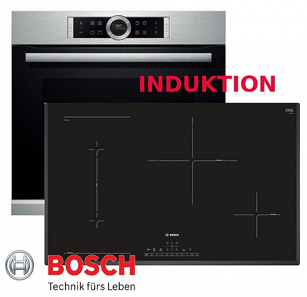 induktion herd set bosch autark backofen silber kochfeld 80cm breit neu ovp ebay. Black Bedroom Furniture Sets. Home Design Ideas