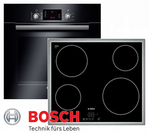 bosch herdset autark schwarz backofen teleskopauszug glaskeramik kochfeld rahmen. Black Bedroom Furniture Sets. Home Design Ideas