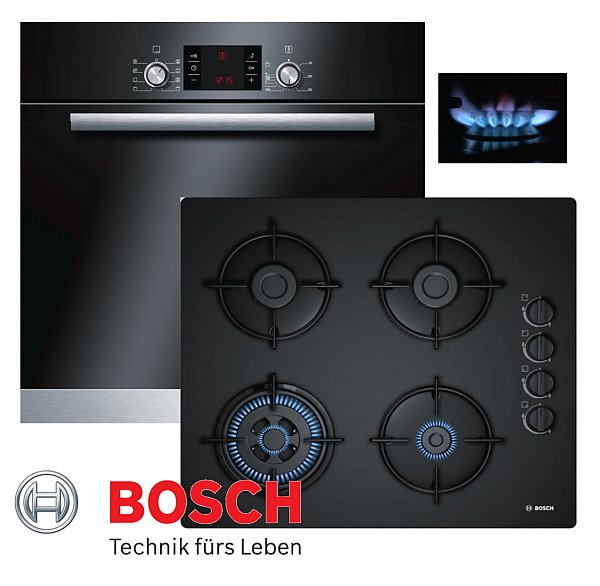 bosch einbau gas herdset autark backofen schwarz gas glaskeramik kochfeld neu ebay. Black Bedroom Furniture Sets. Home Design Ideas