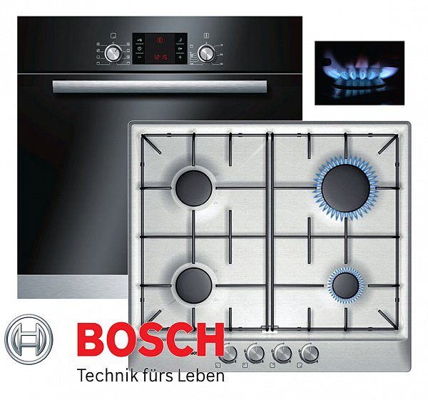 bosch einbau gas herdset autark backofen schwarz gas kochfeld edelstahl neu ebay. Black Bedroom Furniture Sets. Home Design Ideas
