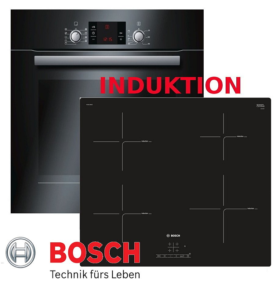 herdset induktion bosch umluft backofen schwarz induktion glaskeramik kochfeld ebay. Black Bedroom Furniture Sets. Home Design Ideas