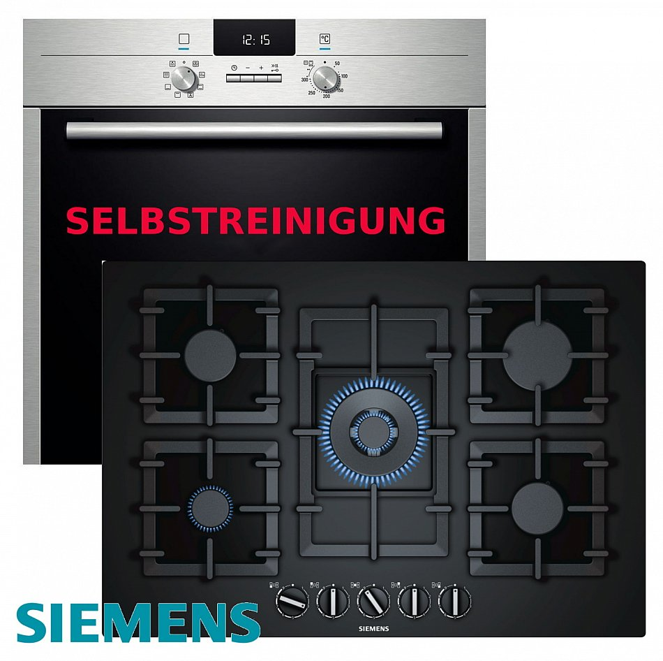 siemens gas herdset autark pyrolyse backofen gas kochfeld glaskeramik 75cm ebay. Black Bedroom Furniture Sets. Home Design Ideas