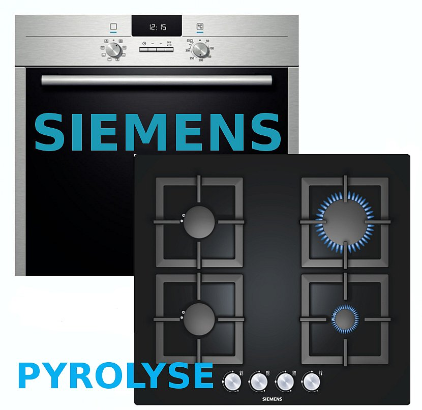 pyrolyse gas herdset autark siemens elektro backofen gas glaskeramik kochstelle ebay. Black Bedroom Furniture Sets. Home Design Ideas