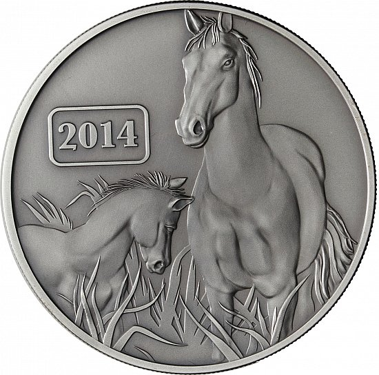 """about 1 Oz Silver - Tokelau 5 Dollars 2014 Antique Finish """" Year"""