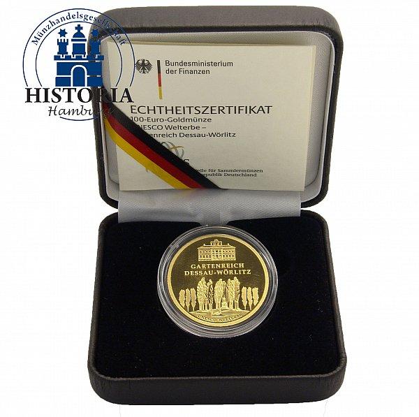 deutschland 100 euro gold 2013 stgl unesco serie dessau w rlitz mzz a ebay. Black Bedroom Furniture Sets. Home Design Ideas