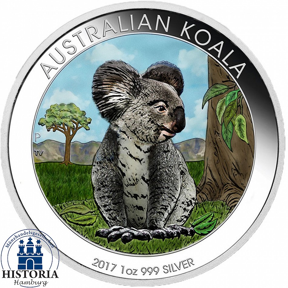 australien 1 dollar silber 2017 stgl silberm nze koala b r in farbe ebay. Black Bedroom Furniture Sets. Home Design Ideas