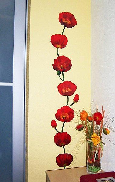 wandtattoo mohnblume sticker wandaufkleber ranke blume ebay. Black Bedroom Furniture Sets. Home Design Ideas