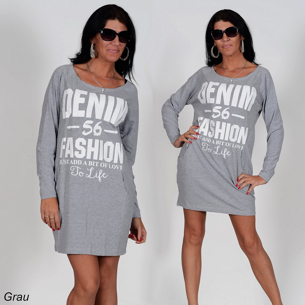 lange sweatshirt longblusen minikleid damen pullover. Black Bedroom Furniture Sets. Home Design Ideas