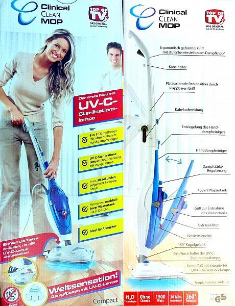 clinical clean mop 9 in 1 dampfbesen uv c sterili. Black Bedroom Furniture Sets. Home Design Ideas