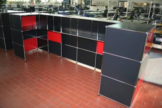 usm haller theke empfang rot schwarz ebay. Black Bedroom Furniture Sets. Home Design Ideas