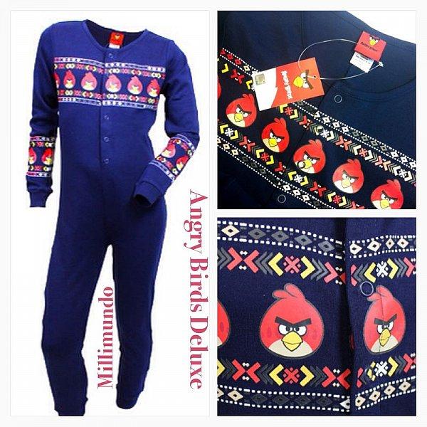schlafanzug einteiler overall u a angry birds kinder pyjama 110 116 bis 164 top ebay. Black Bedroom Furniture Sets. Home Design Ideas