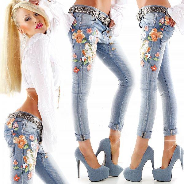 sexy mozzaar jeans damenjeans blumenstickerei boyfriend. Black Bedroom Furniture Sets. Home Design Ideas