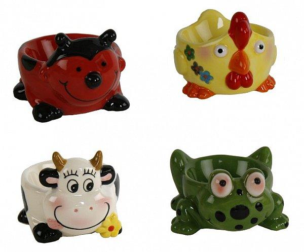 4er set lustige eierbecher tiere kuh k ken marienk fer frosch keramik ebay. Black Bedroom Furniture Sets. Home Design Ideas