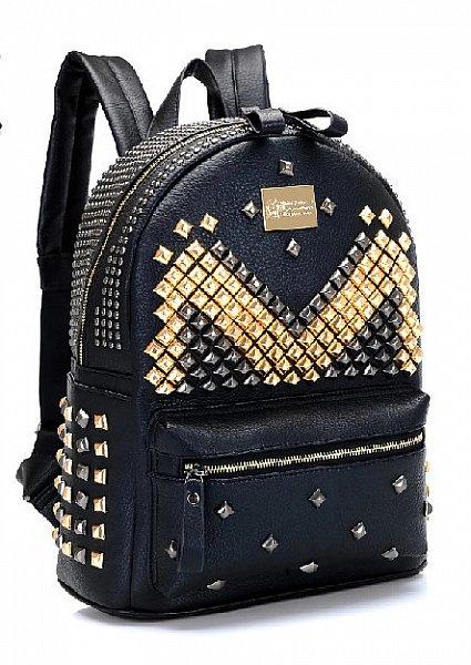 1039 damen designer rucksack handtasche henkeltasche schwarz nieten kunstleder ebay. Black Bedroom Furniture Sets. Home Design Ideas