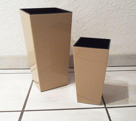 hochglanz pflanzk bel mit einsatz kunststoff eckig taupe. Black Bedroom Furniture Sets. Home Design Ideas