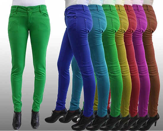damen bunte treggins hose jeans leggings trendige farben xs s m l xl xxl 3xl 4xl ebay. Black Bedroom Furniture Sets. Home Design Ideas