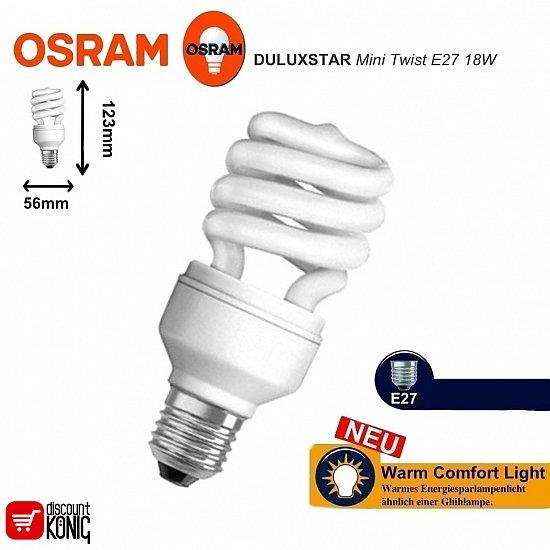 energiesparlampe spirale osram duluxstar mini twist e27 18w 825 2500k 294029. Black Bedroom Furniture Sets. Home Design Ideas