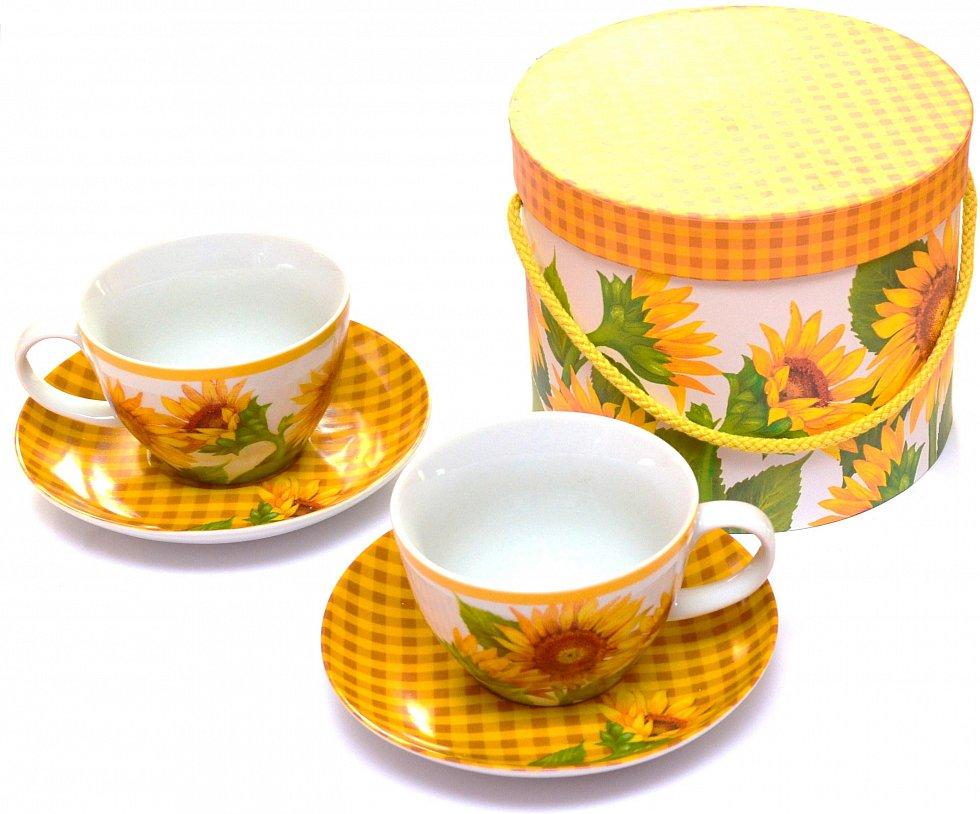ppd porzellan cappuccino tassen set tournesols kaffetasse kaffetassen becher ebay. Black Bedroom Furniture Sets. Home Design Ideas