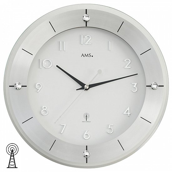 funk wanduhr ams mineralglas glas metall durchmesser 31cm t 4cm funkuhr ebay. Black Bedroom Furniture Sets. Home Design Ideas