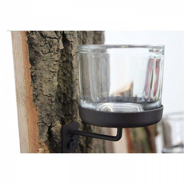 wandkerzenhalter teelicht kerzenhalter laterne wandleuchter holz rinde glas wmg ebay. Black Bedroom Furniture Sets. Home Design Ideas