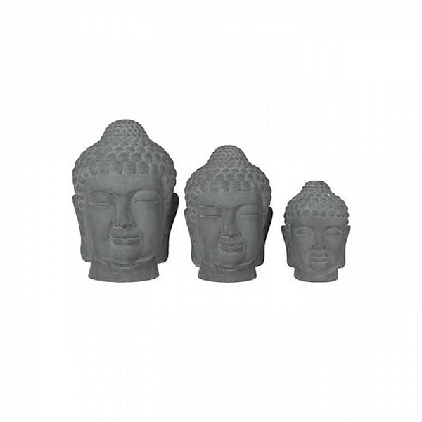 xxl buddha kopf steingrau figur feng shui skulptur asia. Black Bedroom Furniture Sets. Home Design Ideas