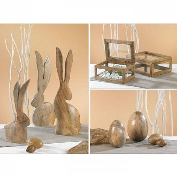 xxl hase holz osterdeko deko ostern osterhase holzhase alani kaheku mangoholz ebay. Black Bedroom Furniture Sets. Home Design Ideas