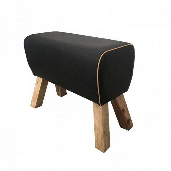 fu hocker sitzhocker hocker holz springbock leder schwarz turnbock fu ablage neu ebay. Black Bedroom Furniture Sets. Home Design Ideas