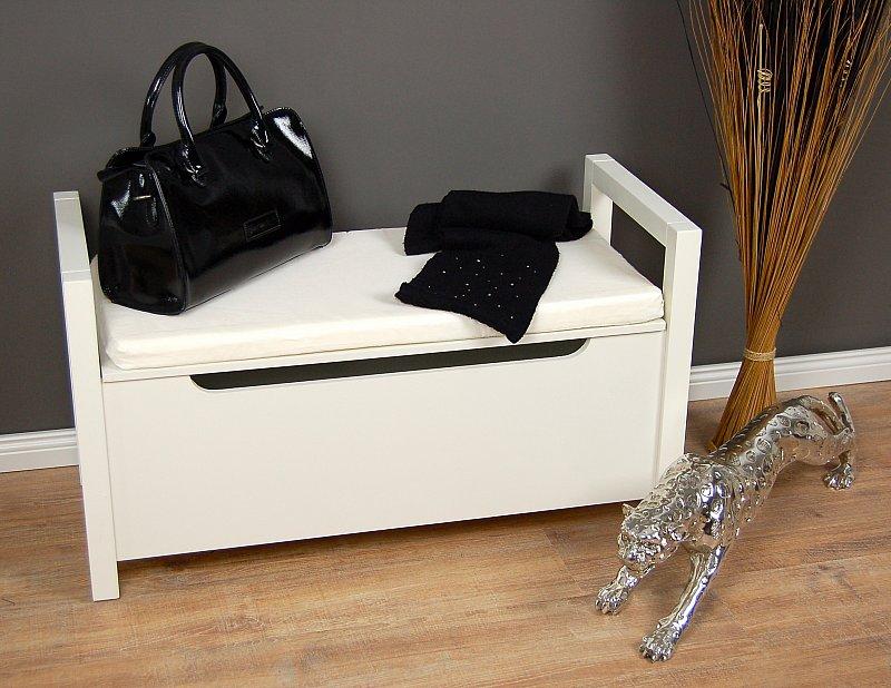 truhenbank mit kissen sitzbank weiss holztruhe sitztruhe bank truhe sitzhocker ebay. Black Bedroom Furniture Sets. Home Design Ideas