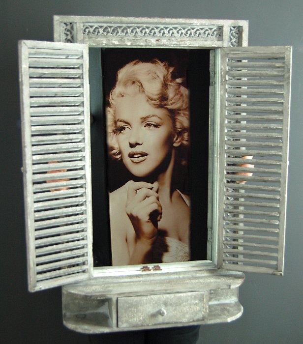Landhaus shabby chic spiegel fensterladen vintage holz - Fensterladen vintage ...