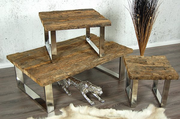 design treibholz couchtisch wohnzimmertisch tisch shabby chic holz chrom ebay. Black Bedroom Furniture Sets. Home Design Ideas